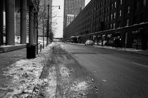 Sludge lining a street.